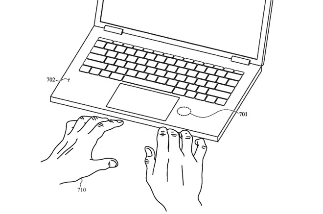 The sensor could be placed where the user's wrist rests below a MacBook keyboard