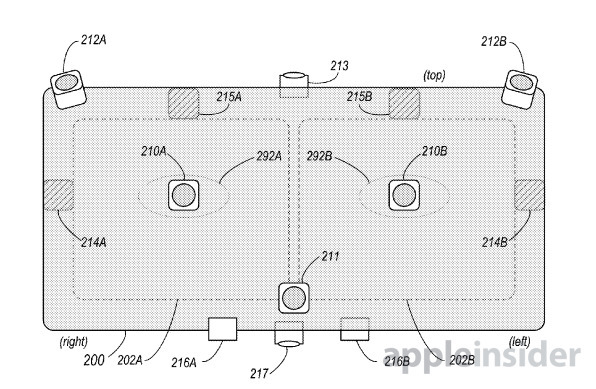 A patent image showing where many sensors could be located for monitoring inside and outside the headset