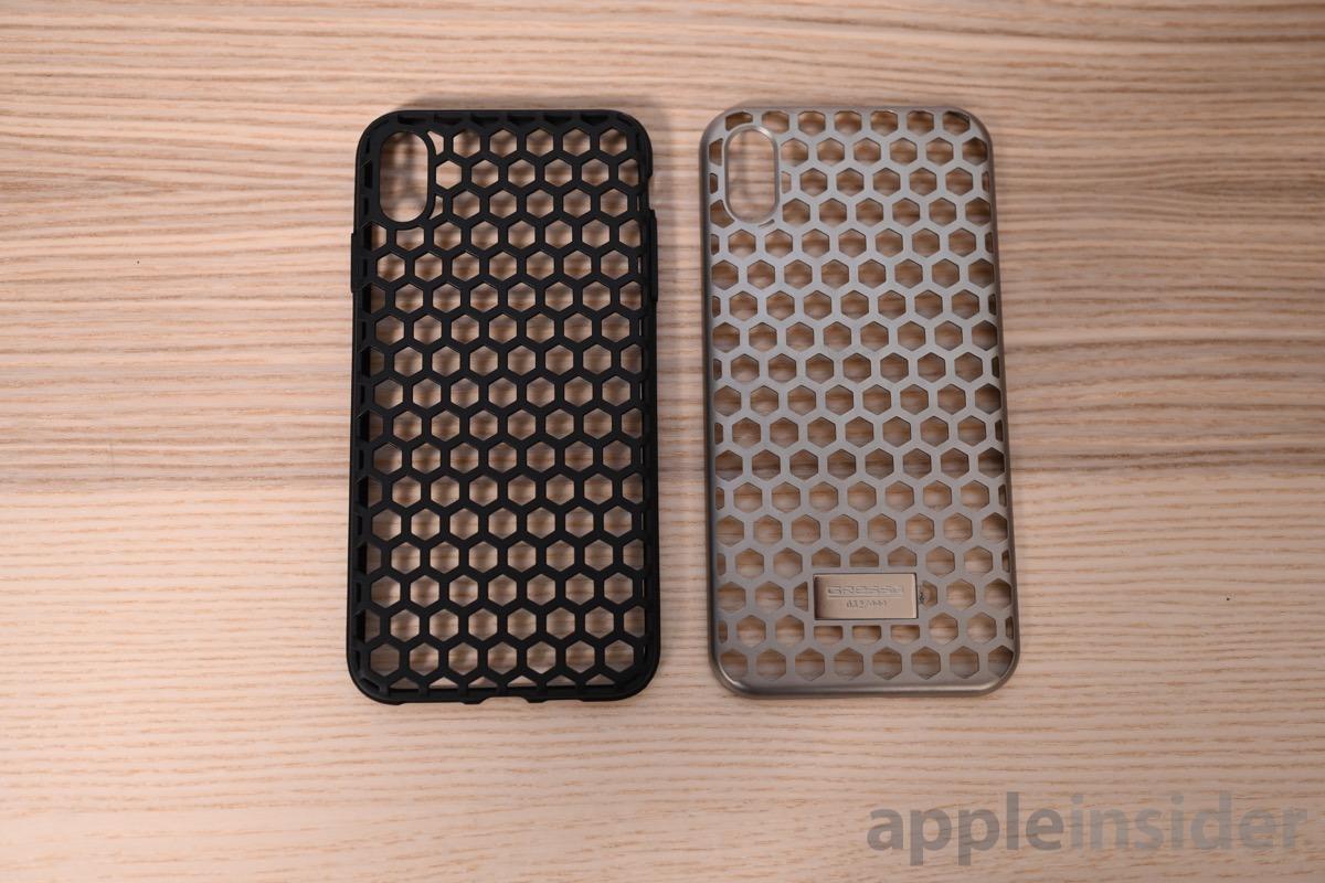 Gresso TPU bumper (left) and titanium shell (right)