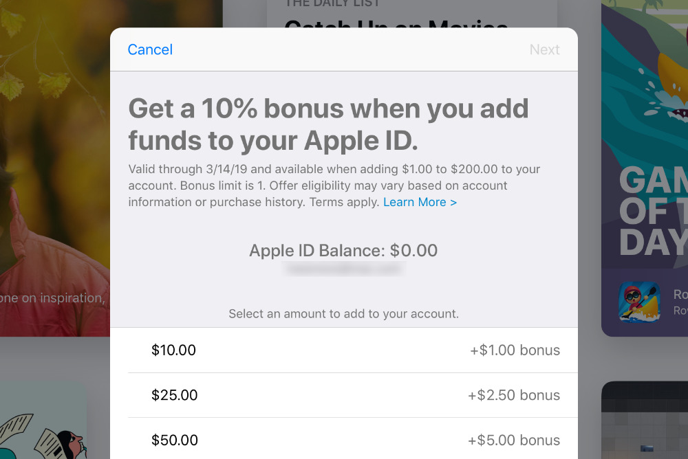 Apple promotes App Store by adding a 10% bonus when you add funds