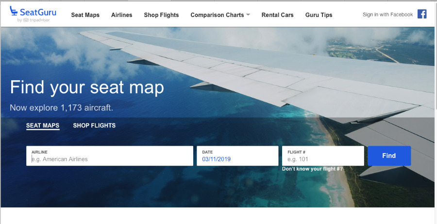 Seat Guru's website does include a flight search but it's best when you already know some trip details