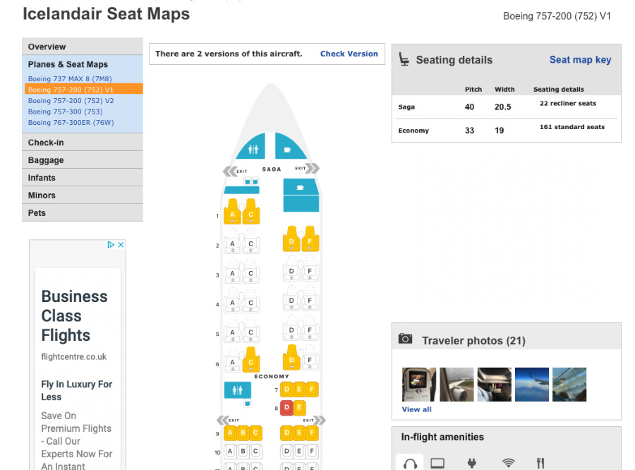 There are also green seats which are the ones recommended for legroom and position in the cabin