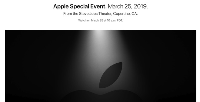 Apple's live stream page, updated for the March 2019 Special Event