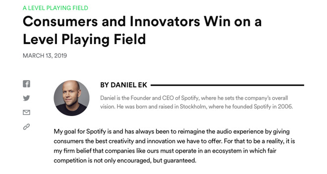 Spotify's blog announcing the complaint