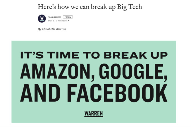 Detail from Senator Warren's blog post on Medium. Apple isn't mentioned in the text, either.