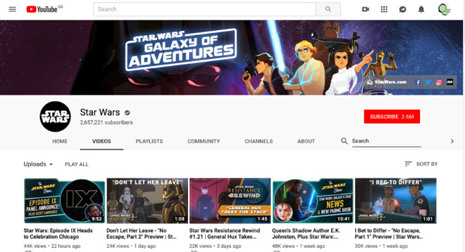The official Star Wars channel on YouTube has hundreds of videos - though not, curiously, the famous Trailer B for
