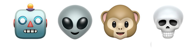 The four exploding heads in the invitations are stylized versions of these Animoji