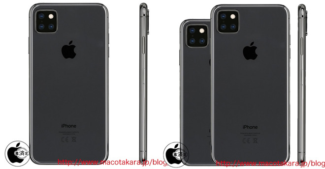 New renders of a triple camera iPhone, via Macotakara