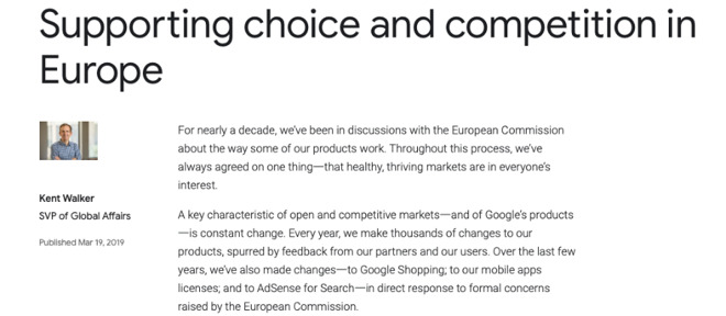 Extract from Google's latest blog about working with the European Commission