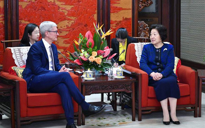 Tim Cook and Sun Chunlan