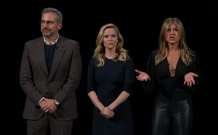 L-R Steve Carell, Reese Witherspoon, Jennifer Aniston