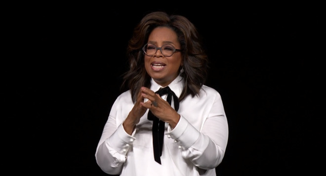 Oprah Winfrey on stage at Apple's event