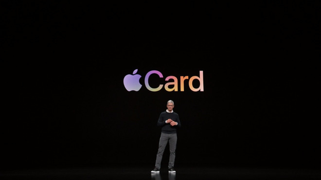 Apple CEO Tim Cook onstage announcing Apple Card