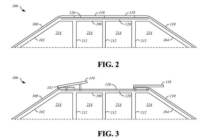 An illustration of how the panels can be angled and positioned on the tracks