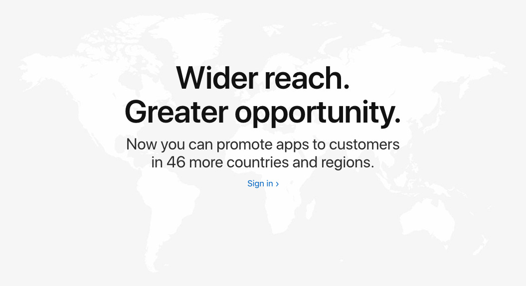 Apple Search Ads more countries notice