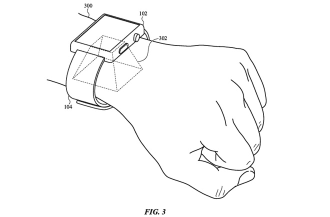 Illustration showing the area of the wrist light field cameras on the back of an Apple Watch could cover