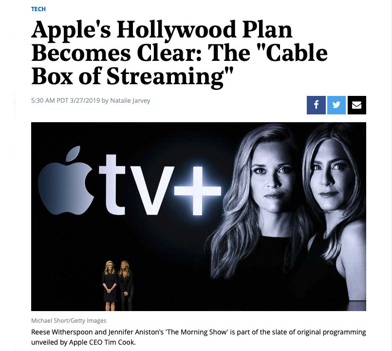 Detail from The Hollywood Reporter's coverage of Apple's event