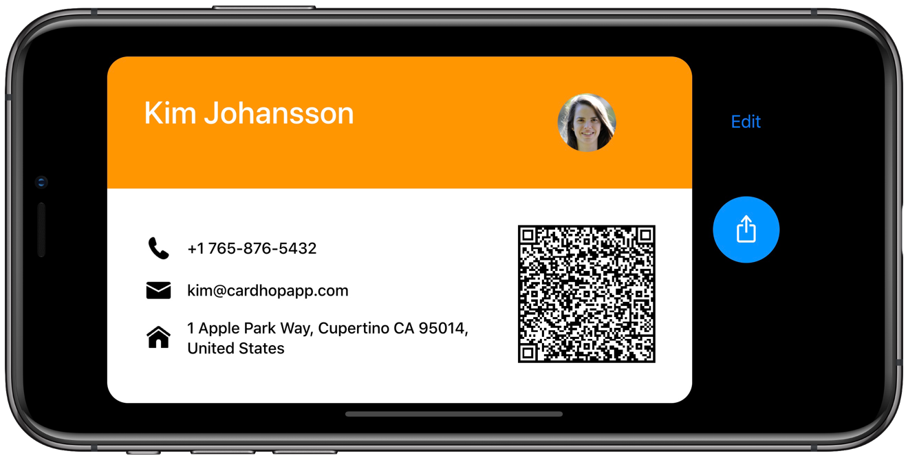Cardhop creates a business card for sharing with reduced information from your personal contact card