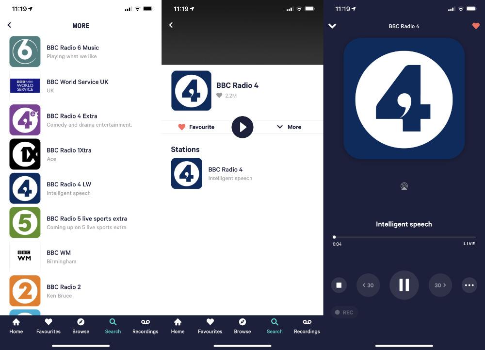 Stream audio from the TuneIn Pro radio app to HomePod