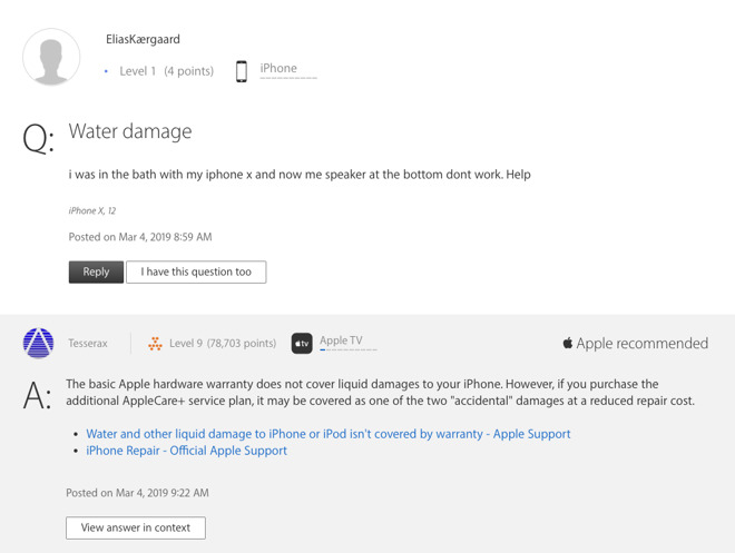 A typical 'water damage' response from Apple's forums