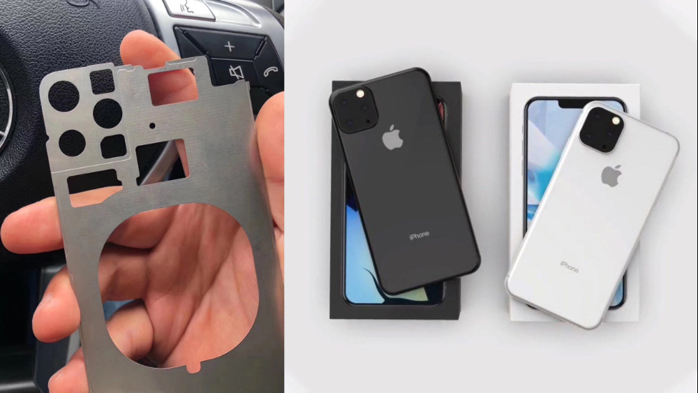 Left: the purported rear chassis. Right: mockups of how iPhones with this chassis could look.