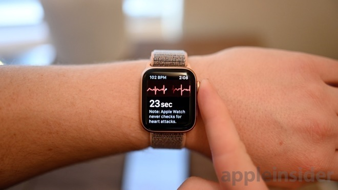 The Apple Watch's ECG app, used to warn users of potential heart issues