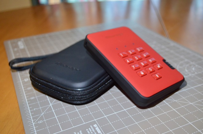 The carry case provides extra protection for the secure drive.