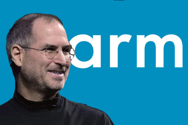 Mockup of Steve Jobs in front of the current ARM logo