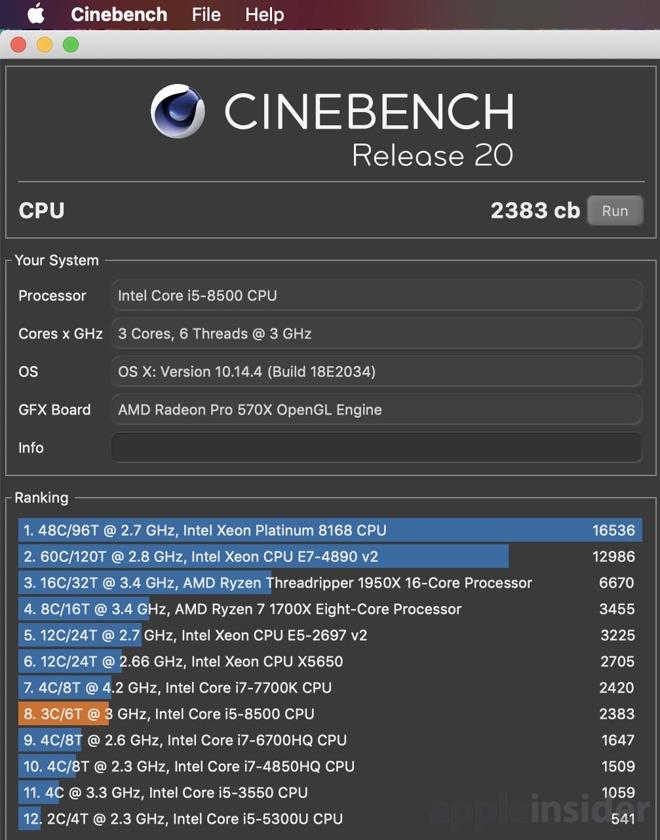 2019 iMac 5K base model Cinebench R20