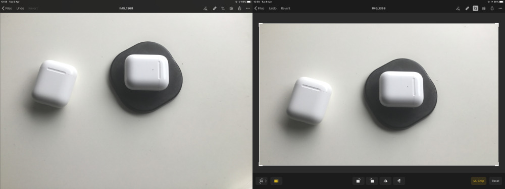 Left: objects placed randomly in the frame. Right: Pixelmator Photo's machine learning offers a recommended crop