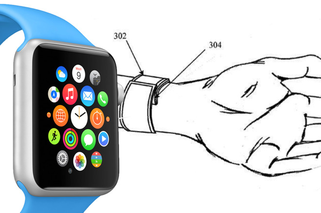 The original Apple Watch next to one of the many drawings that have appeared in various Apple patents