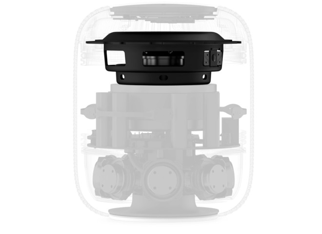 The insides of a HomePod. The highlighted section is what produces its deep base sound. (Source: Apple)