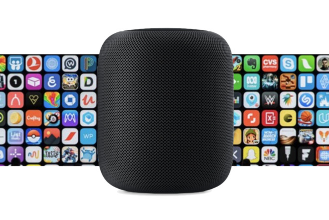 Mockup of a HomePod App Store, based on an Apple image promoting music rather than apps