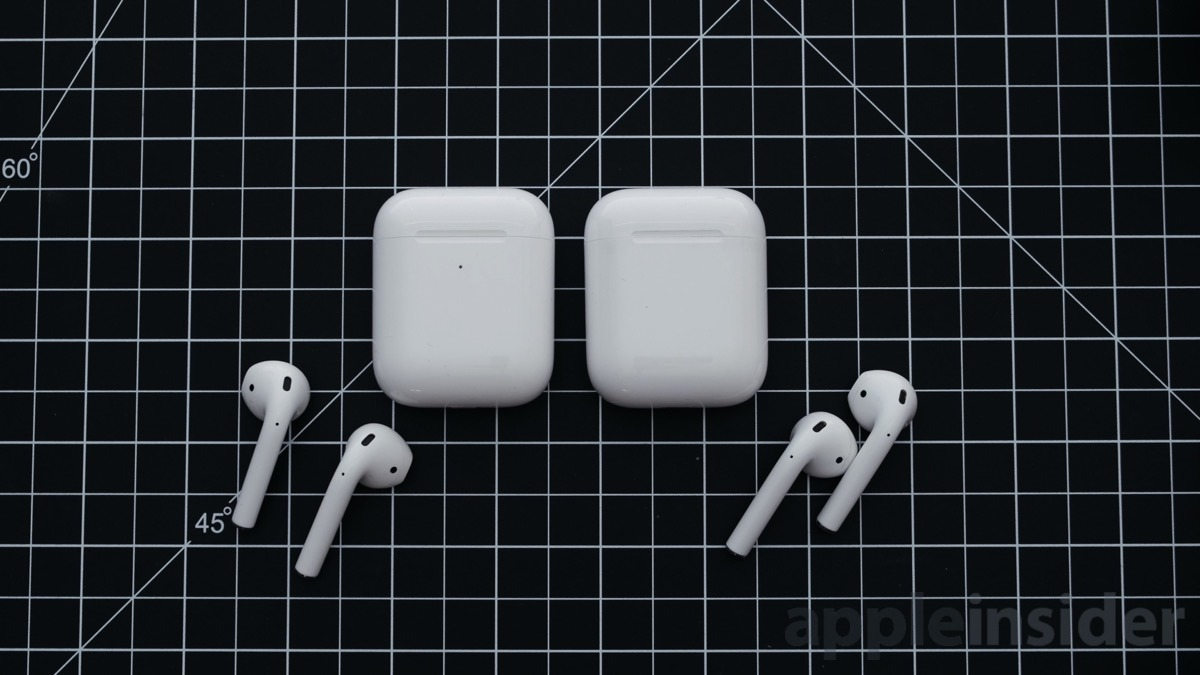 AirPods Second Generation (left) and original AirPods (right)