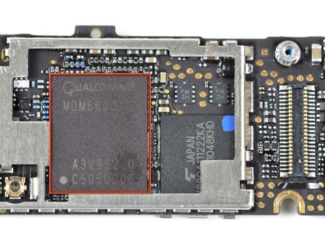 A Qualcomm modem chip, used in Apple's iPhone