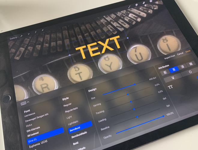 Procreate for iPad update adds sought-after typography features