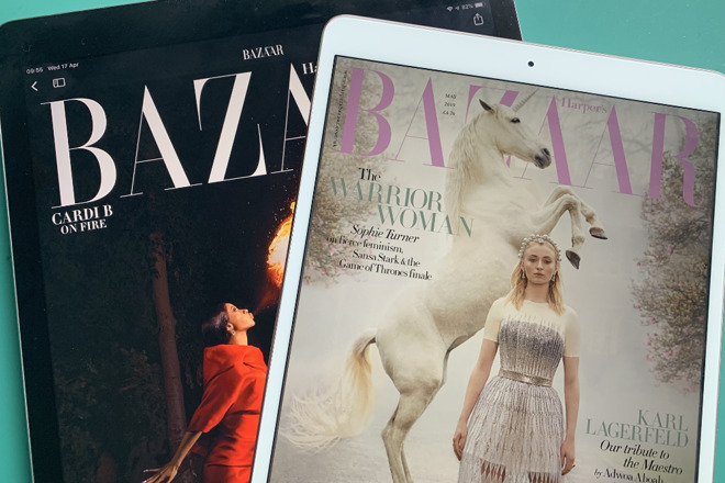 Left: Harper's Bazaar US on Apple News+. Right: Harper's Bazaar UK on Kindle Unlimited