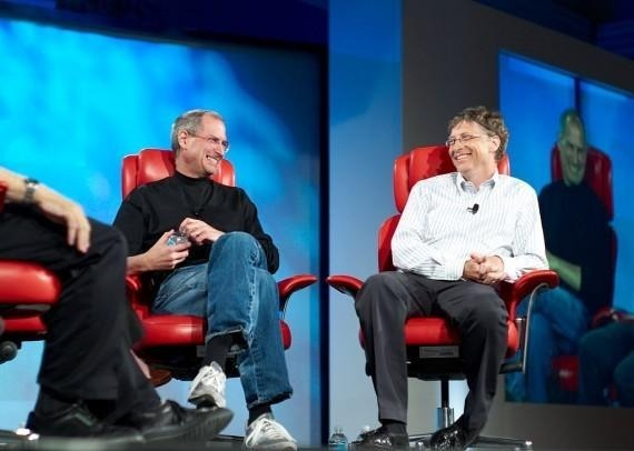 Steve Jobs (Left) and Bill Gates (Right), the real-life subjects of the 'Nerds' play.