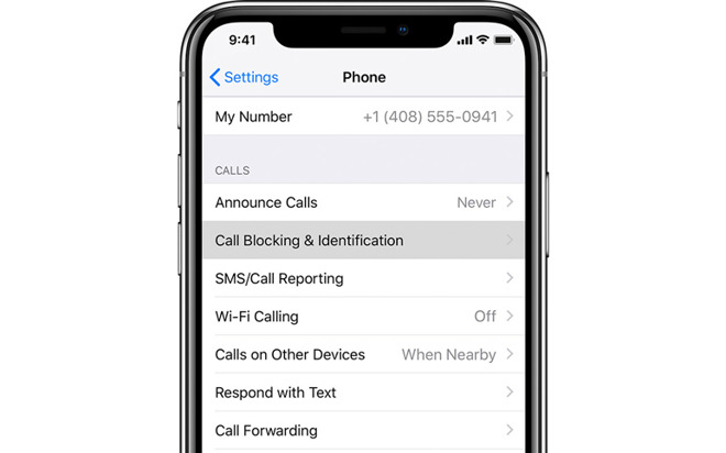 iPhone X call block
