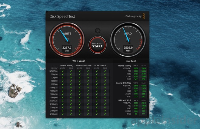 G-Technology Mobile Pro SSD results in Blackmagic Disk Speed Test