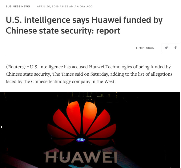 Huawei China spy funding