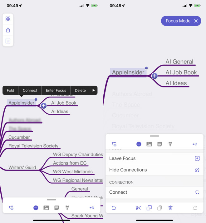 The new Focus mode in MindNode 6 for iOS lets you concentrate on one area of your brainstorming