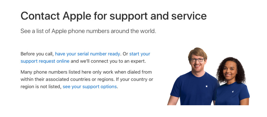 Apple's complete list of all its real phone numbers