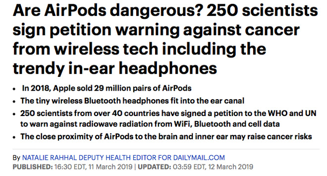No 250 Scientists Didn T Warn That Airpods Are A Cancer Risk Appleinsider