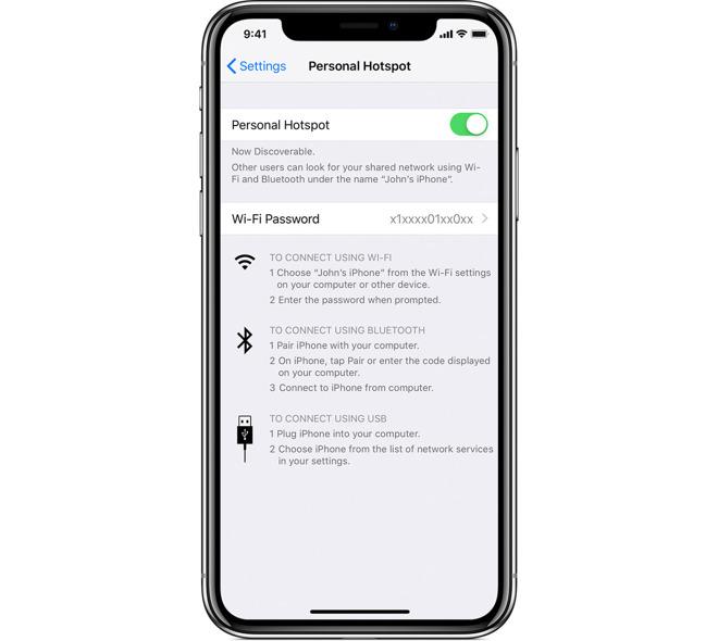 iOS 12 Personal Hotspot