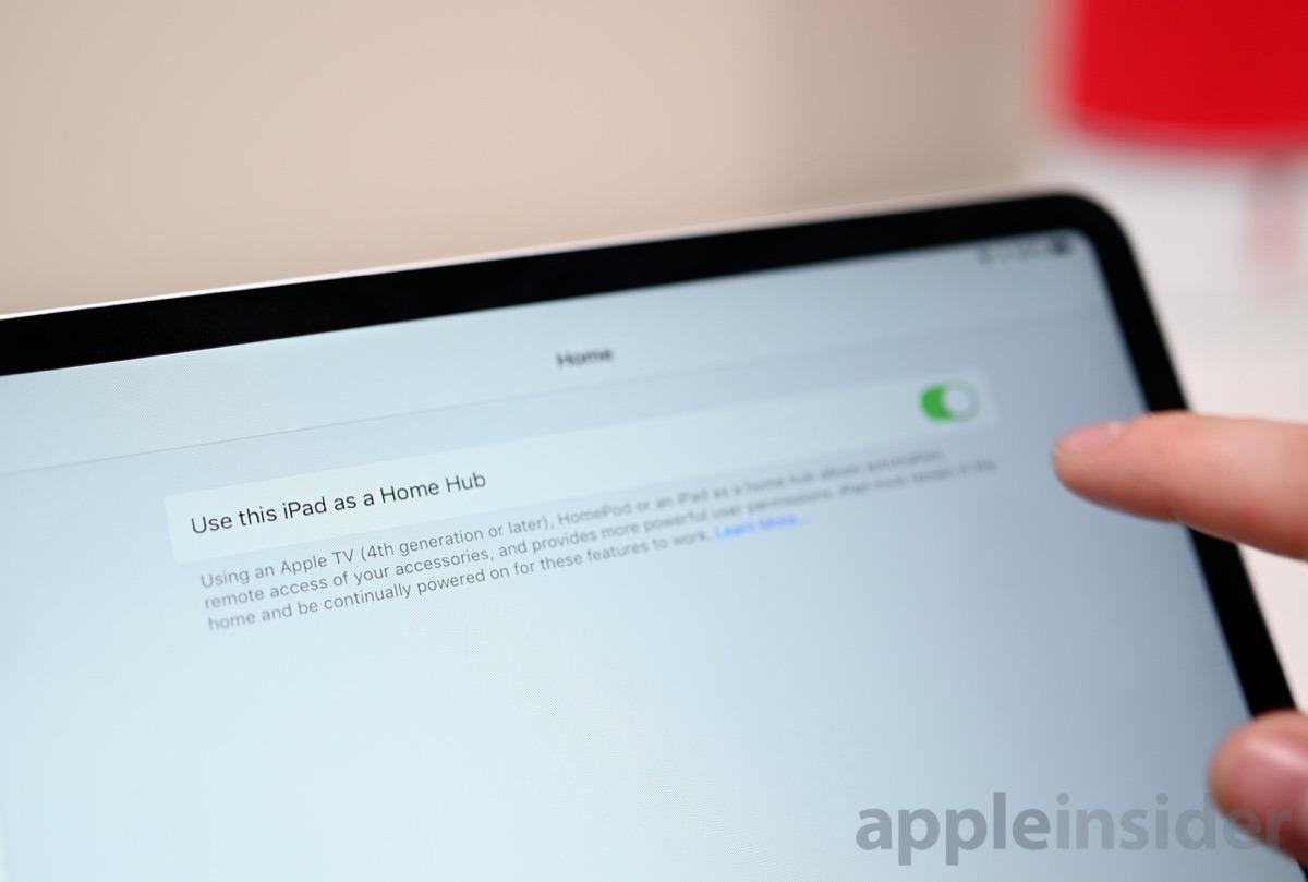 iPad Home Hub toggle in Settings > Home