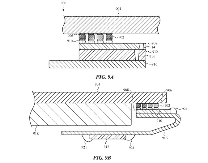 Two cross-sections of an acoustic imaging system in contact with the touch input surfaces