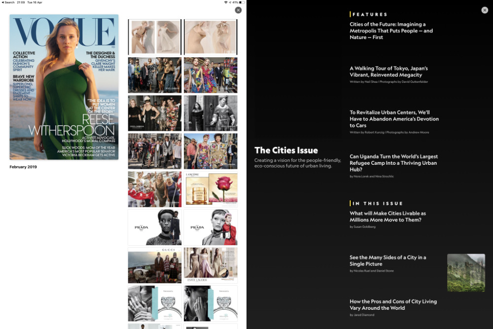 Left: Vogue's visual contents page. Right: National Geographic's more text-based one.