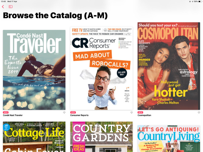 You can browse the complete catalog of magazines on Apple News+, except that it isn't complete. Titles will vanish for no reason.