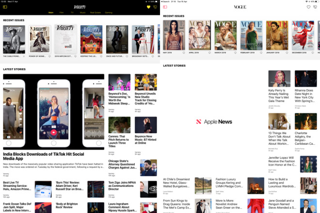 Typical magazine pages. Notice the issues at the top, the latest stories down below -- and, on the left,  the hole in Vogue's page because Apple News+ hasn't loaded a story yet.